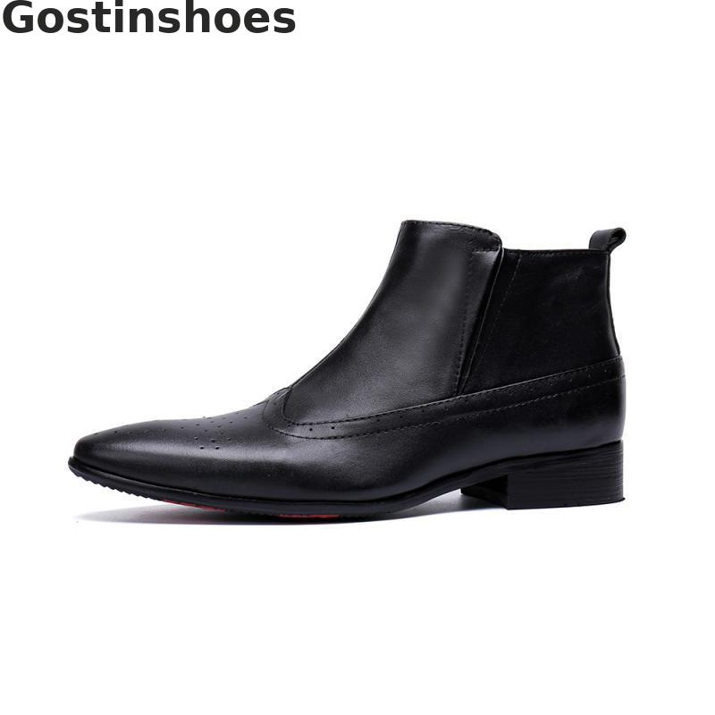 Fashion Mens Dress Boots Cowhide Genuine Leather Black Men Short Boots Pointed Toe Wing Tip Carved Brogues Boots Side Zip in Work Safety Boots from Shoes