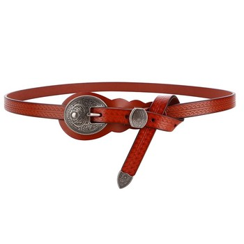 Hot Sale Women cow split leather belt for dress luxury genuine vintage carved buckle belts new knot Rivets jeans strap