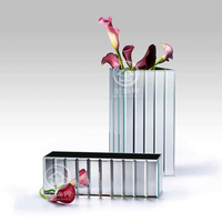 Glass Mirrored Vase Table Storage Wedding Dry Flower Vase Mirror Cube Home Christmas Traditional Festival Decoration