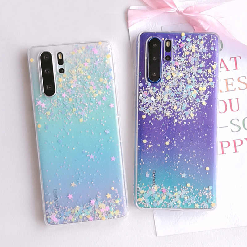 Glitter Stars Transparent Soft TPU Cover For Huawei P30 Pro Case Luxury Phone Accessorie For Huawei P30 P30 Lite P30Pro p20 Case