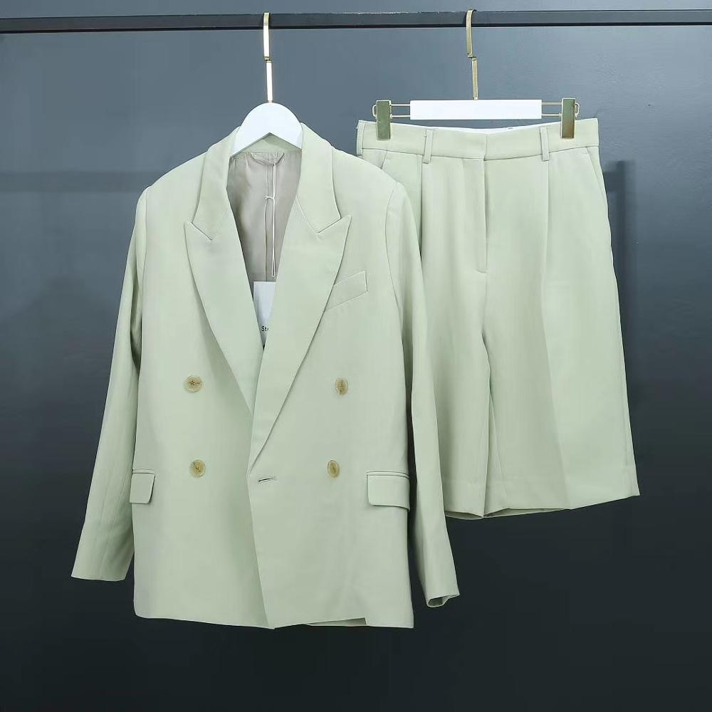 Light Green Casual Suit 2020 Spring Summer New Long Sleeve Suit Coat+ Straight Five-point Trousers