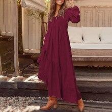 ZANZEA Plus Size kobiety na co dzień z długim rękawem plisowana sukienka na przyjęcie elegancki V Neck kieszenie długa, maksi sukienki moda czeski Vestidos