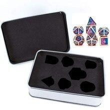 7 pièces Dragon Style métal dés métallique mdn jeu D & D dés avec boîtier en métal gratuit 24BD