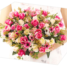 Christmas 5 Branch Rose Pink Silk Artificial Flowers Big Head Cheap Fake for Home Wedding Decoration indoor decoration