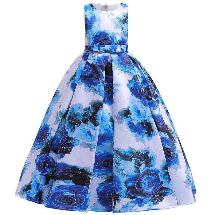 Пышные платья для девочек; платье для первого причастия; детское платье для свадебной вечеринки; платье для дня рождения; кружевные вечерние платья с лепестками для девочек; длинное платье для торжеств - Цвет: blue