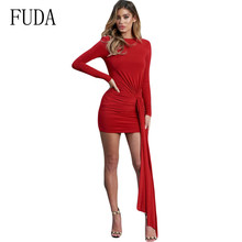 FUDA New Womens Back Hollow Out Elegant Slim Pleated Dress Long Sleeve Lace Up Bodycon Bandage Femme Red Night Party Mujer