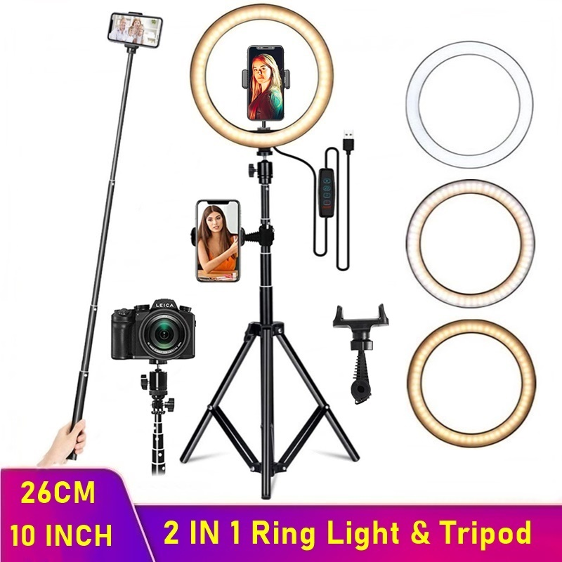 Dimmable LED Selfie Ring Fill Light Phone Camera Led Ring Lamp With Tripod For Makeup Video Live Aro De Luz Para Hacer Tik Tok