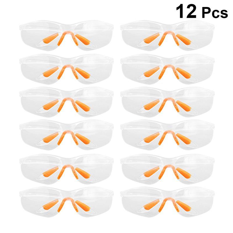 12pcs Disposable Goggles Protective Glasses Spittle Splash Baffles Soft Nose Holder Glasses For Women Men