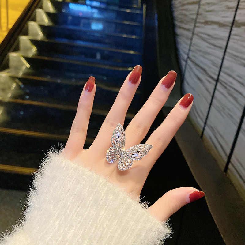 Duży motyl otwarte pierścienie dla kobiet 2020 nowych moda Micro Pave Shinning cyrkon kreatywny pierścionek regulowana biżuteria