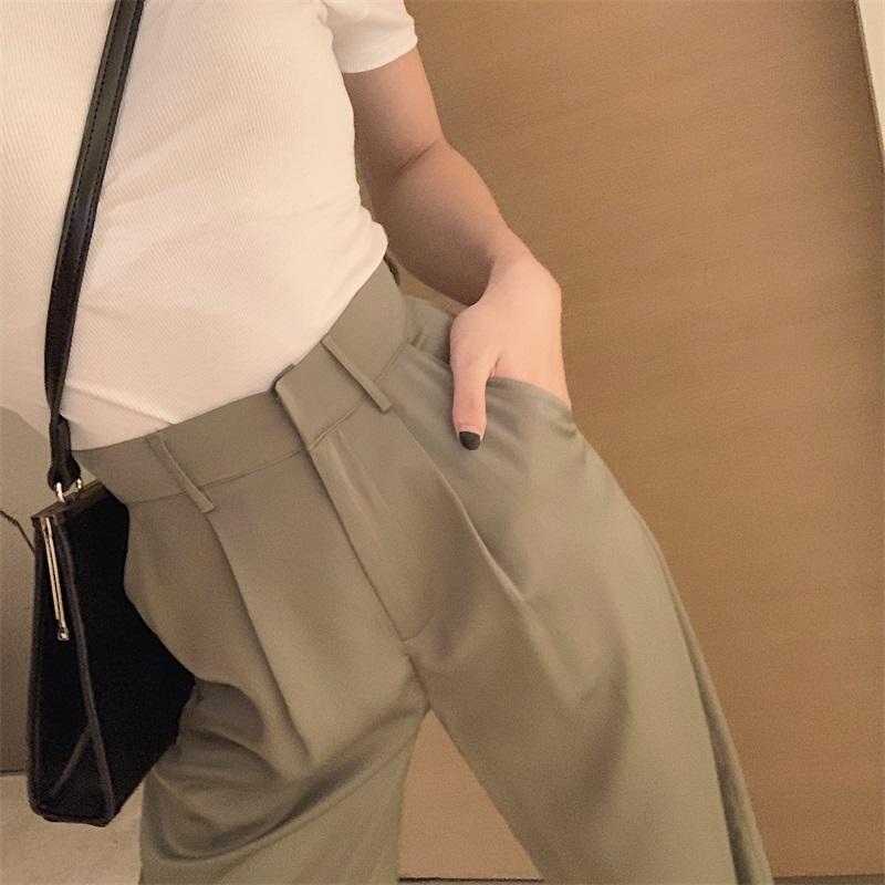 Women High Waist Wide Leg Trousers Autumn New Version Ins Thin Straight Pants Casual Pants