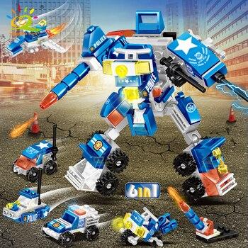"""Конструктор HUIQIBAO """"Робот - полицейский"""", 140 шт. 6 в 1 5"""