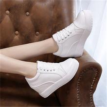 Женские кожаные кроссовки на платформе черные или белые высоком