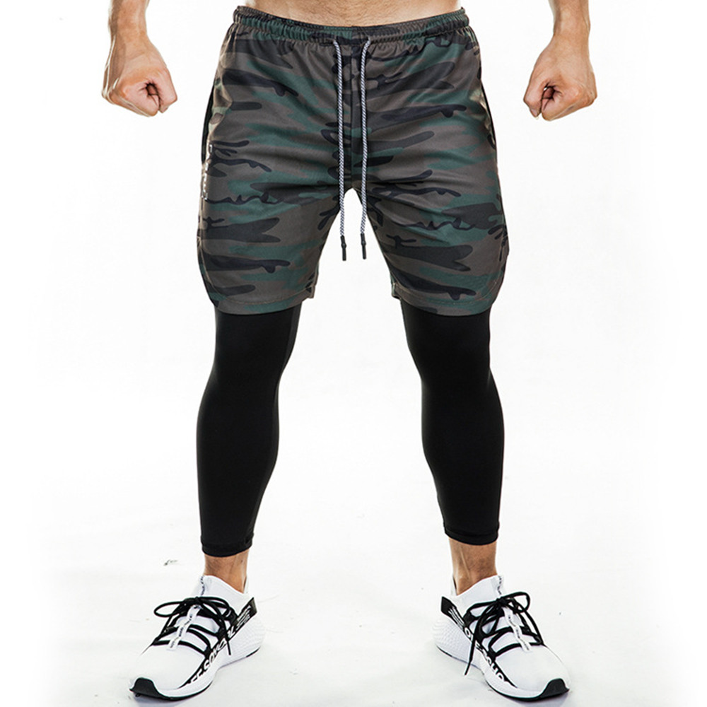 Joggers Sweatpants Men Running Skinny Pants Short Leggings Double Layer Sportswear Male Gym Fitness Built-in Pocket Track Pants
