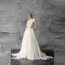 Новое поступление свадебное платье цвета шампанского с кружевами