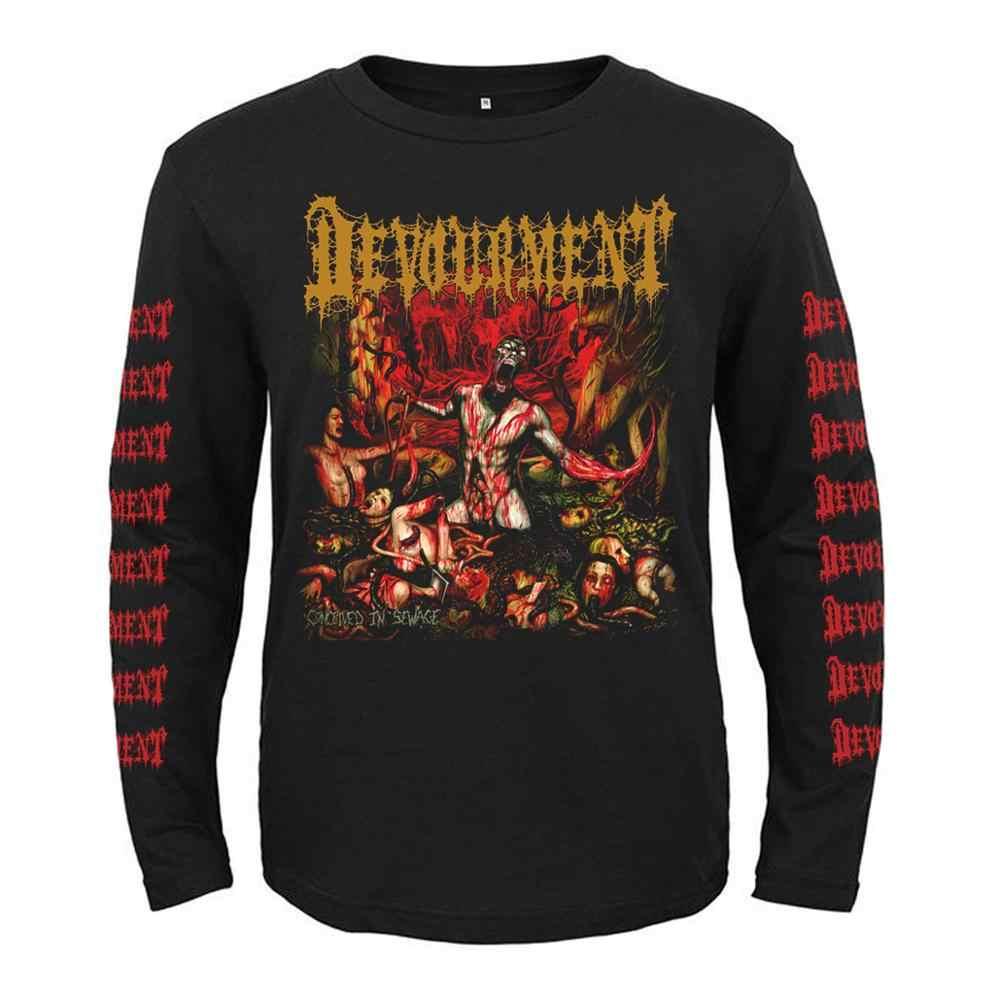 4 디자인 록 밴드 Devourment 펑크 로커 남성 여성 전체 긴 소매 셔츠 헤비 데스 메탈 블랙 티 피트니스 악마