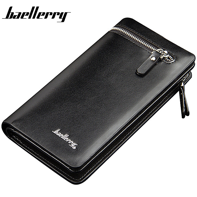 2018 Baellerry Men Wallets Long Double Zipper PU Leather Phone Pocket Large Capacity Men Purse Multifunction Classic Male Wallet