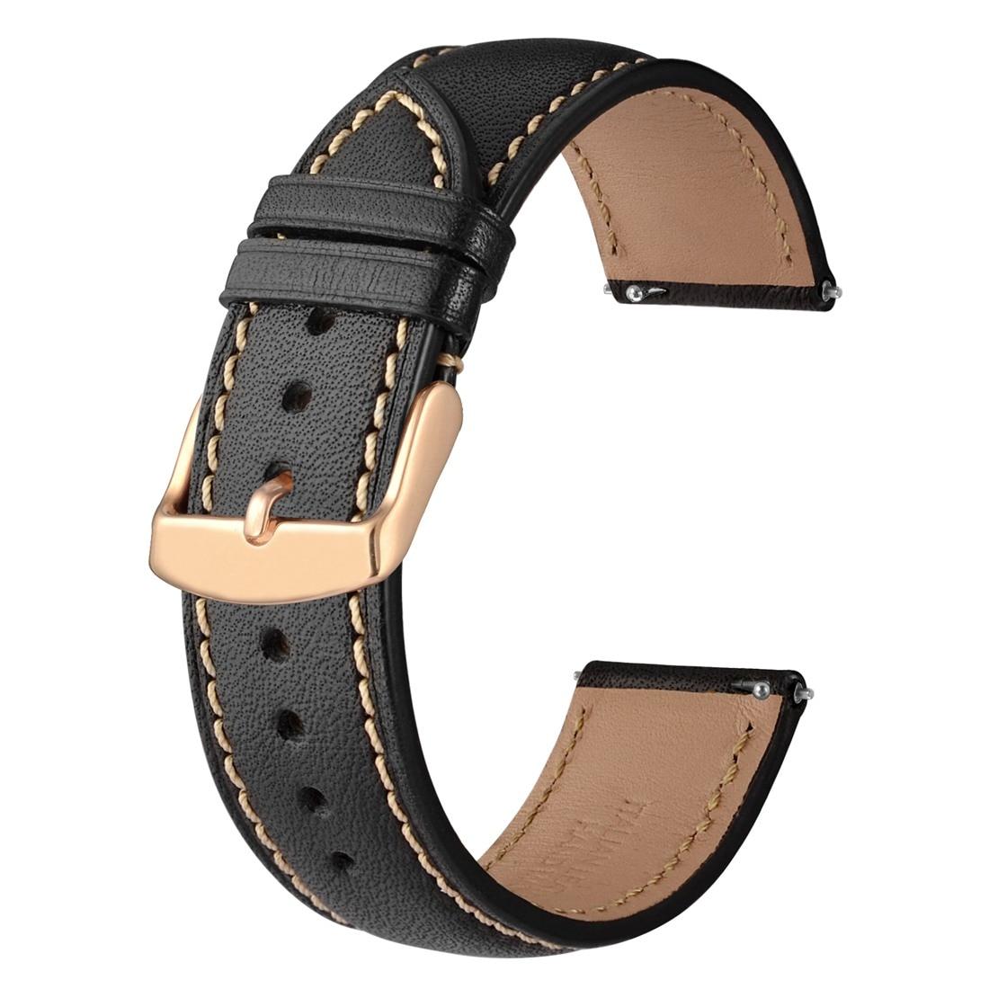 couro genuíno pulseira de relógio com ouro rosa fivela para galaxy