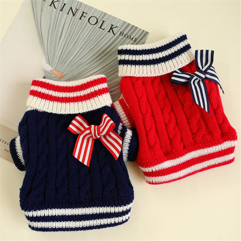 Winter Dog Clothes Bow-tie Navy Pet Dog Sweaters Pullover Christmas Clothing Coat Puppy Dachshund Jumper Apparel Jersey Perro