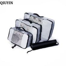 QIUYIN Brand 3 Pcs Packing Cube Organiser Travel Bag Women Large Capacity Waterproof Storage Clothing Sorting Luggage Mesh
