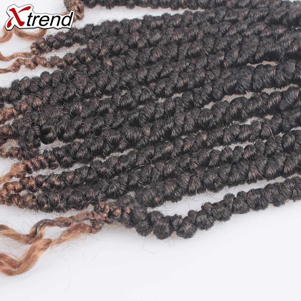 Xtrend Pre Twist Spring Twist pelo sintético de ganchillo extensiones de cabello de trenzado de ganchillo trenzas de crotachet de 12 pulgadas