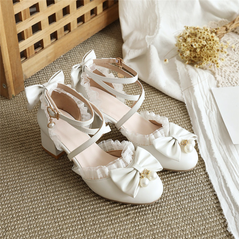 YQBTDL White Pink High Heels Ladies Sandals Princess Cosplay <font><b>Lolita</b></font> <font><b>Shoes</b></font> Cross Strap Cute Bow Block Heel Sandal Party Wedding image
