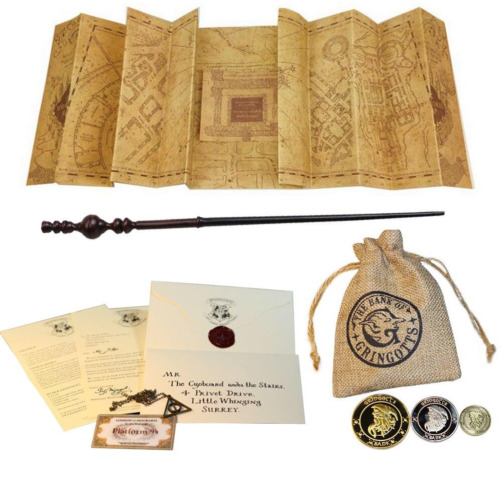 Карта мараудера, хариэд, палочка, письмо о приеме, экспресс-билет, ожерелье Deathly hthe, мелочи, банковские монеты и сумка