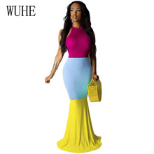 WUHE Bodycon Boho Long Maxi Dress Elegant 3 Color Patchwork Fashion Thin Sleeveless Hollow Out Floor-length Beach Party