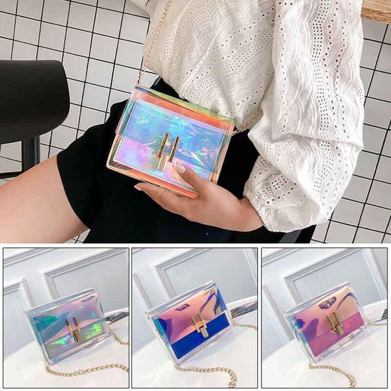 3 Warna Fashion Wanita Tas Tangan Laser Bening Transparan Tote Hologram Dompet Tas Tangan Tas Bahu Dompet Koin