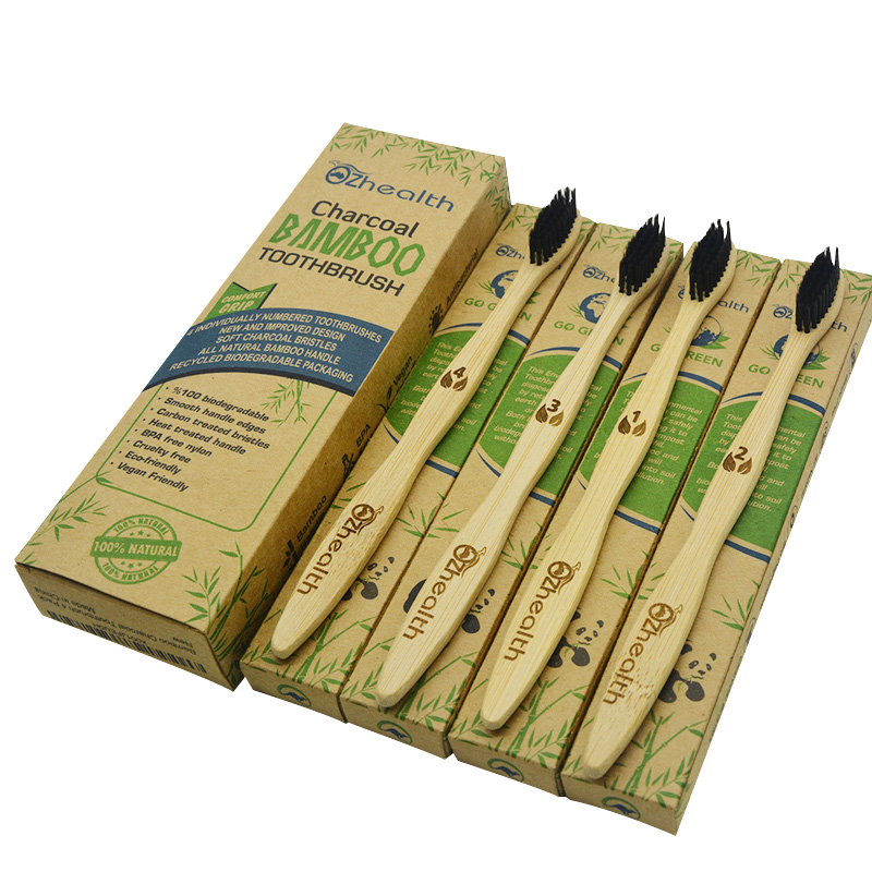 BPA Free Bamboo Toothbrush Eco Friendly Case Nylon Bristle Bamboo Toothbrush 4 Pack