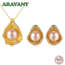 Unique Design 925 Sterling Silver Freshwater Pearl Jewerly Sets For Women Statement Necklace Earrings Set 2 Colors
