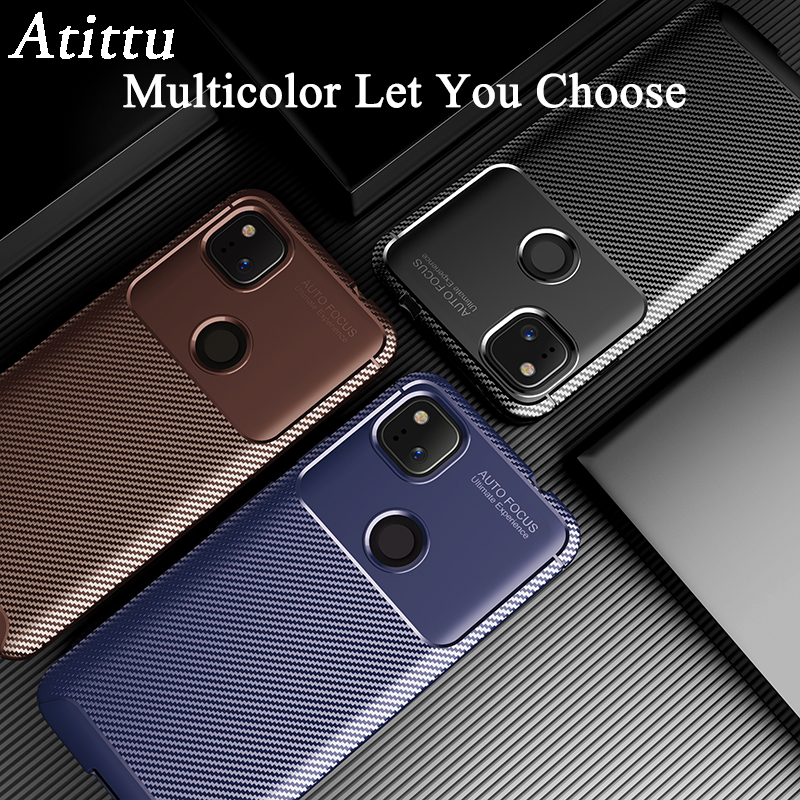 Pixel 4a Case | Phone Case For Google Pixel 4A Case Cover Carbon Fiber Texture Soft TPU Silicone Back Bumper Case For Google Pixel 4A 4XL 4 A