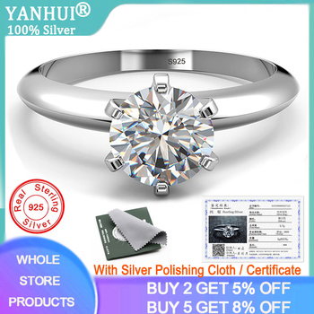 YANHUI Original S925 Silver Lab Diamond Ring for Women Luxury Anillos Wedding Fine Jewelry Gemstone White Topaz 925 Silver Ring 925 sliver jewelry diamond ring for women anillos de wedding engagement bizuteria gemstone white topaz s925 silver ring with box