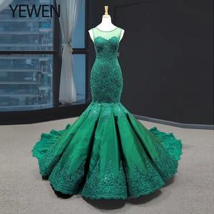 Image 1 - Green long Mermaid dresses evening 2020 O Neck formal dress women elegant evening party gown vestidos de fiesta talla grande