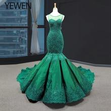Verde vestidos largos estilo sirena noche 2020 cuello redondo vestido formal mujeres elegante vestido de fiesta de Noche vestidos de fiesta talla grande
