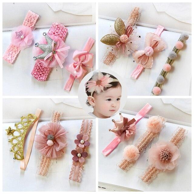 3 Pcs/Lot  Baby Headband Crown Flower Bows Girl Newborn Hair Accessories Elastic Band Turban