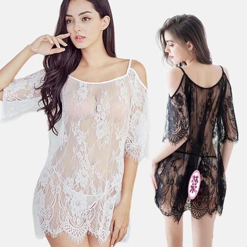SleepwearLace Evening Dress See Through Lingerie Nightgown Mini Sleepwear For Women