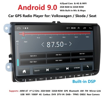 Ossuret 9 inch Android 9.0 Double 2Din Car radio GPS Auto radio 2 Din USB For Volkswagen/Passat/GOLF/Skoda/Seat Wifi bluetooth