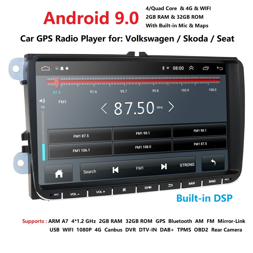 Ossuret 9 inch Android 9.0 Dubbele 2Din Auto radio GPS Auto radio 2 Din USB Voor Volkswagen/Passat/ GOLF/Skoda/Seat Wifi bluetooth