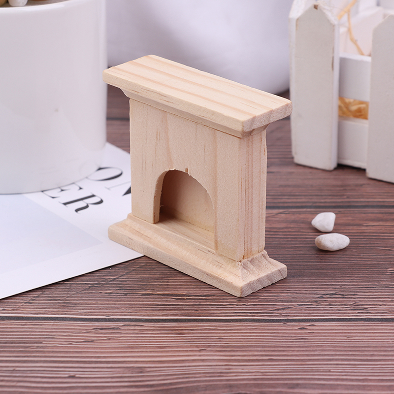 1:12 Scale DIY Wooden Handmade Miniature Fireplace Dollhouse Decor Furniture Accessorie Kits Mini Doll Houses Toys Gift