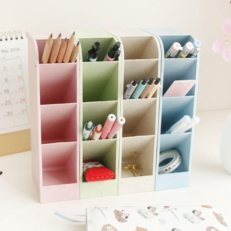 Multi-function 4 Grid Desktop Pen Holder Office School Storage Case Box Wheat Straw Desk Pencil Organizer Stationery