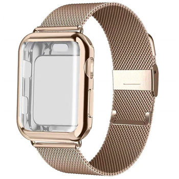 цена на Case+strap for Apple Watch Band 38mm 42mm iWatch band 44mm 40mm Stainless Steel Milanese Loop bracelet Apple watch 5 4 3 2 1