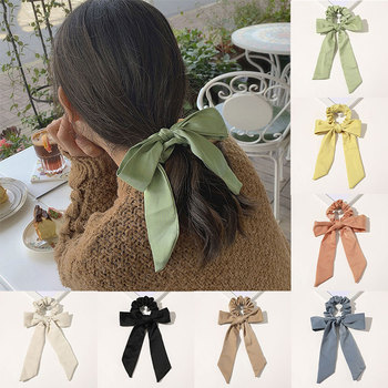 Women Stretchy Ponytail Holder Rope Hair Ring Girls Bow sunshines Elastic Hair Bands Satin Headbands Hair Ties Hair Accessories image