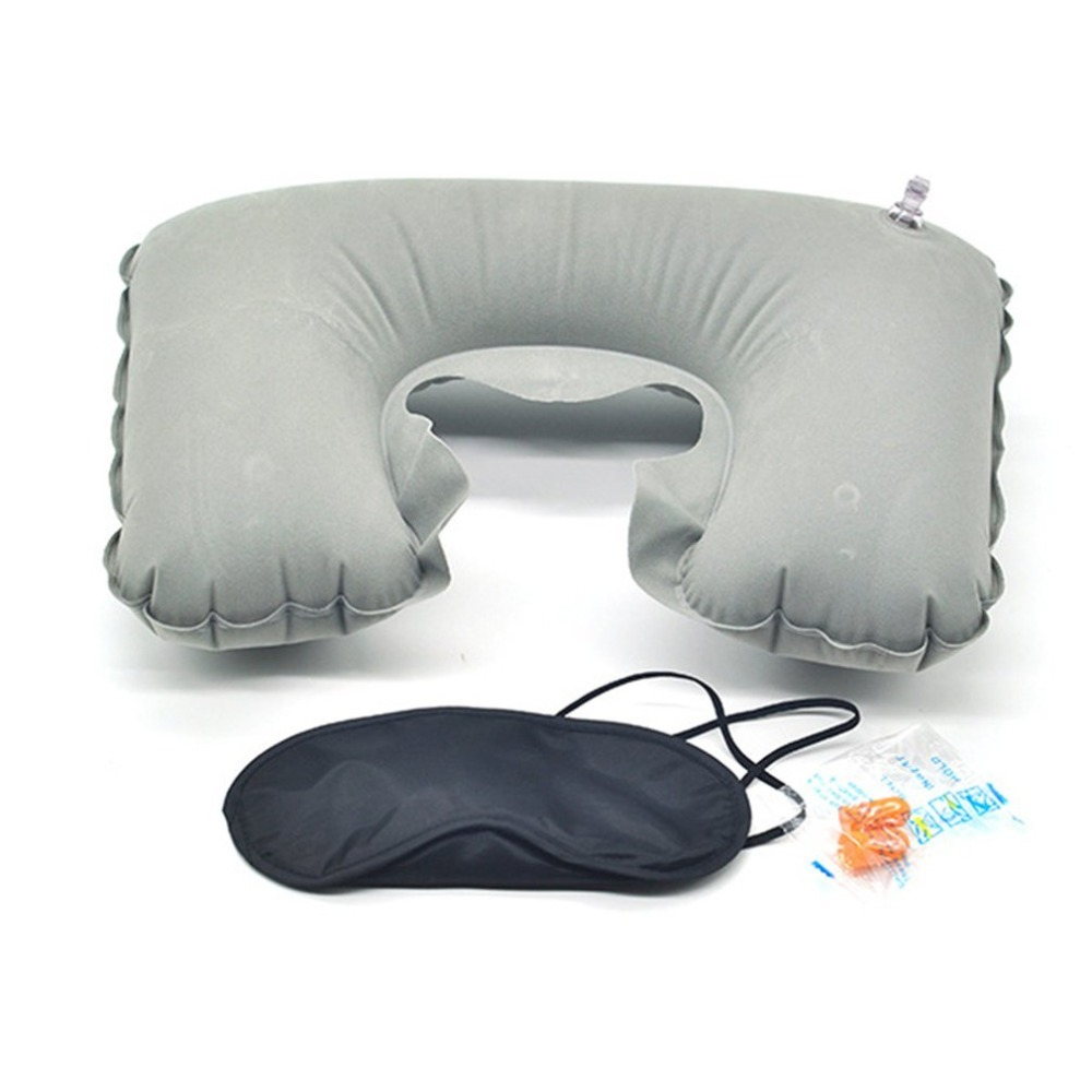 Car Flight Travel  Three Piece Set Flocking Pillow Include Air Pillow Eye Mask Earplug U-Shape Flocked Pillow Neck Rest