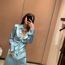 2020 European and American women's new spring dress women's blue chest pleated Shirt Dress Satin one hair substitute(China)