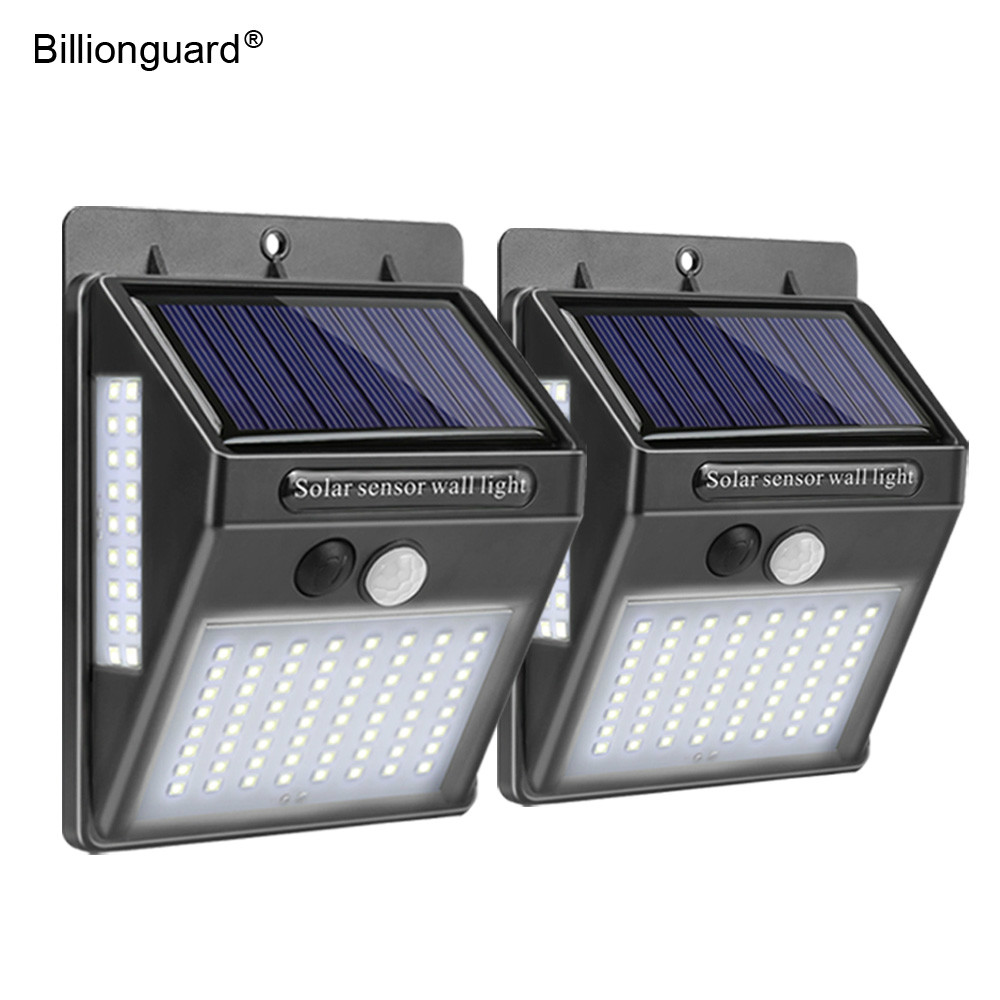 2pcs 100 LED Solar Wall Lamp With Motion Sensor Outdoor Led Solar Powered Garden Light Waterproof Security Light For Street Path
