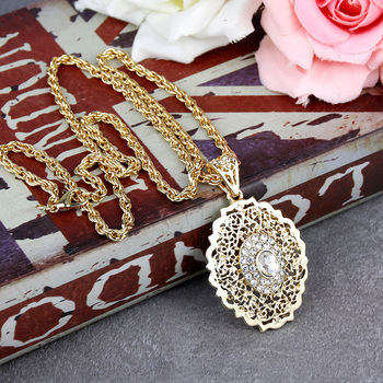 Sunspicems Long Pendant Necklace for Women Gold Color Moroccan Caftan Charm Sweater Chain African Ethnic Wedding Jewelry Gift 2