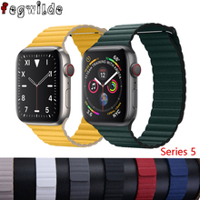 Leather loop band For apple watch strap correa apple watch 4 5 3 2 1 42mm iWatch 4 band 44mm 40mm 38mm Magnetic Closure bracelet hot sale hoco 3 colors milanese band for huawei watch 42mm with magnetic closure and beautiful retail package