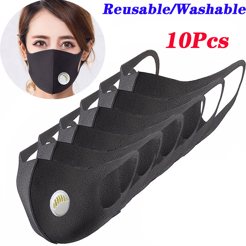 10 Pcs Reusable Face Mouth Mask Anti-Infection Black Breathing Valve Filter Mouthmask For Unisex Mouth Facemask Washable