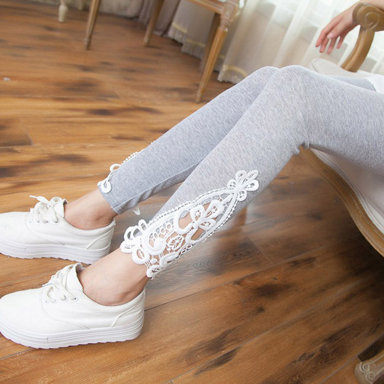 Legging Cotton Solid-Pants Fashion Women Hollow Lace 4colors Triangle