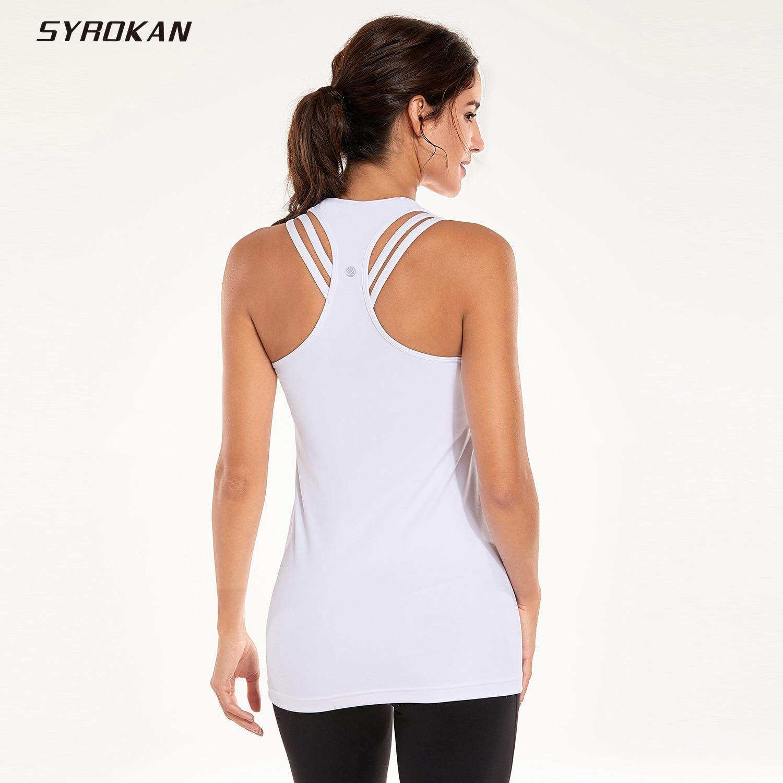 SYROKAN Women's Workout Compression Long Racerback Tank Top
